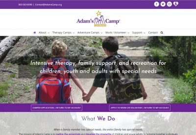 Adams Camp Colorado site designed by CoBa Web Design
