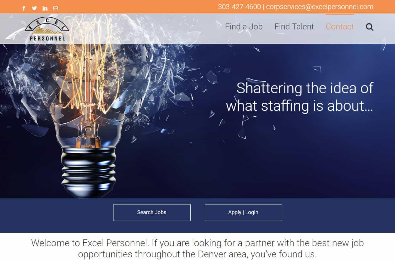 Excel Personnel site designed by CoBa Web Design