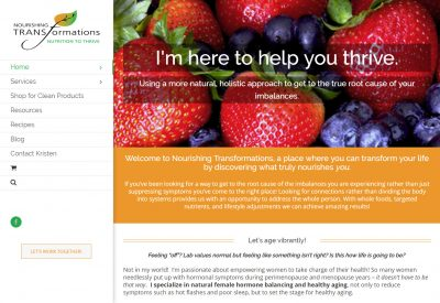 Nourishing Transformations site designed by CoBa Web Design