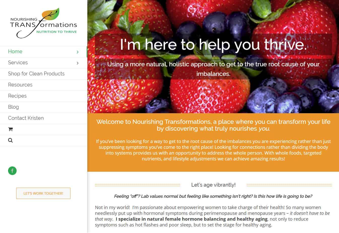 Nourishing Transformations site designed by CoBa Web Design